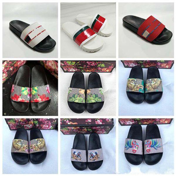top popular 2019 Designer Rubber Sandals New Floral brocade Mens Fashion Slippers Red White Gear Bottoms Flip Flops Womens Slides Casual Flats slipper 2020