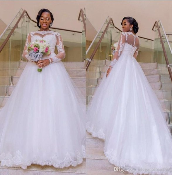New Design Arabic Dubai Nigerian Lace Wedding Dresses A Line Applique Tiered Tulle Wedding Bridal Gowns Long Illusion Sleeves Wedding Dress