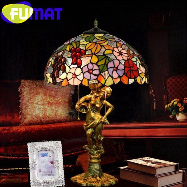FUMAT Tiffany European Barock Style Table Lamps Stained Glass Desk Lamp Alloy Grape Trumpet Flower Goddess Luxury Table Lights