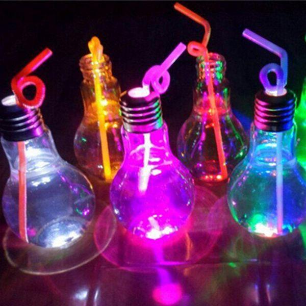 Lâmpada do bulbo da forma do DIODO EMISSOR de luz Da Lâmpada Copos de garrafas de água CONDUZIU a luz do suco luminoso Iogurte copos de chá leitoso decorações para a festa de natal natal