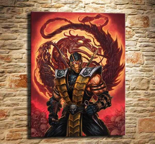 De Mortal Kombat,Scorpion MK X,1 Pieces Canvas Prints Wall Art Oil Painting Home Decor (Unframed/Framed) .