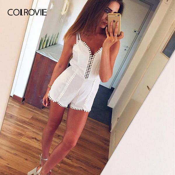 Colrovie Crochet Trim Asymmetric Hem Summer Romper 2018 New White Spaghetti Strap Backless Girl Sexy Romper Beach Women Playsuit Y19071801