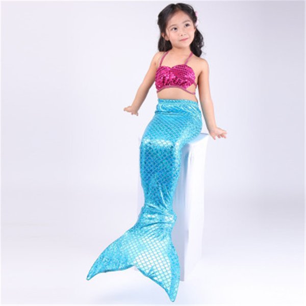 Child Mermaid Tail Swimsuit Bikini Set Swim Suit Girl Swimming Costume monofin