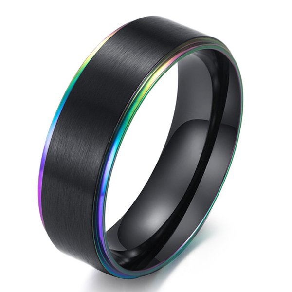 Black Tungsten Carbide Ring with Brushed Rainbow Groove on the two edge of Wedding ring