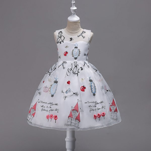 New Embroirder Cartoon Flower Girl Dresses Elegant O-neck Sleeveless Girls Dress For Party Gift