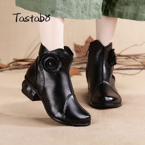 09c468d67 Tastabo Ladies Black Shoes Women Square Heel Retro Boots Handmade Boots  Women Fashion Flower Soft Genuine Leather Shoes Flats Peep Toe Booties Cat  ...