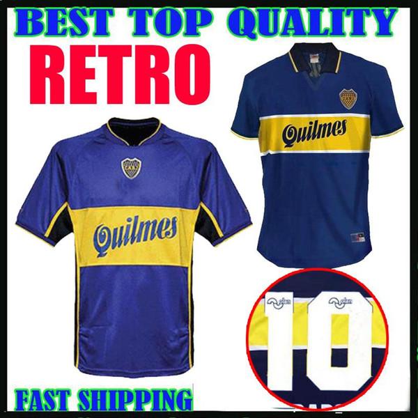 Качество 97 98 01 Boca Juniors ретро футбол Джерси Марадона Vintage Caniggia 1997 1998 2001 MAGLIA Классические рубашки футбола Майо Таиланд