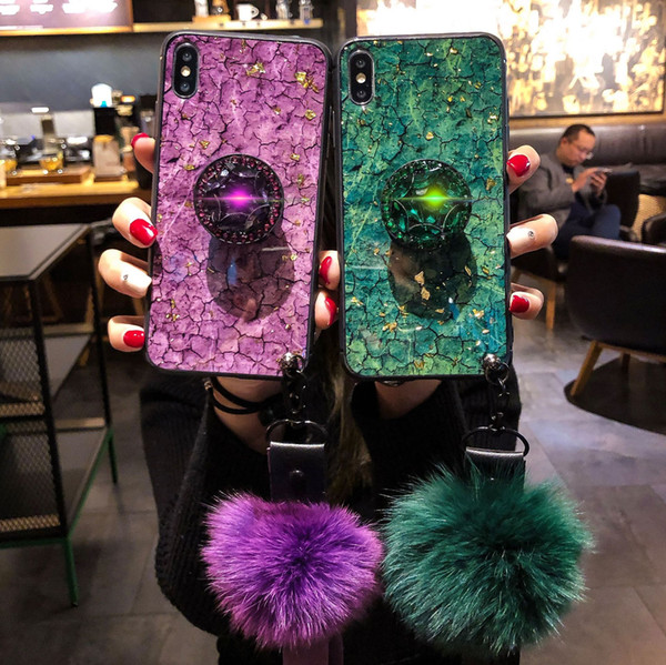 Applicable to iPhoneXSmax mobile phone case new XR diamond drop soft plastic phone case Apple 78plus protective cover hair ball