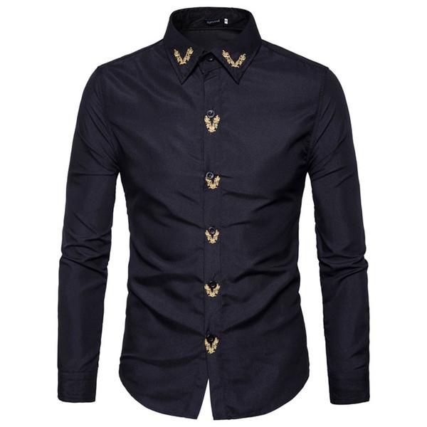 Marka Moda Erkek Gömlek Uzun Kollu Üstleri Işlemeli Rahat Yüksek Nitelikleri Erkek Gömlekler Ince Erkek Gömlek XXL