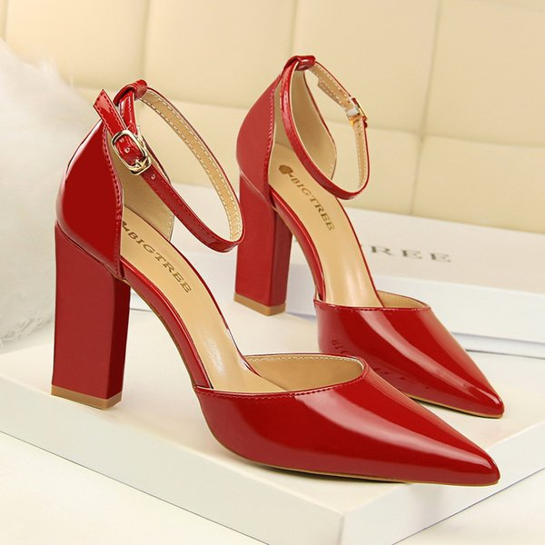 white shoes woman heel mary jane shoes thick heels pointed toe high heels dress office shoes women high heels zapatos de mujer buty damskie