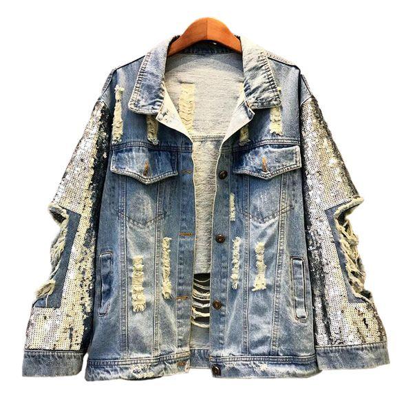 2019 Giacche di jeans con paillettes fatte a mano Femmina New Hole Denim Jacket Women Plus Size Cappotto Casual Basics Coat Streetwear Women