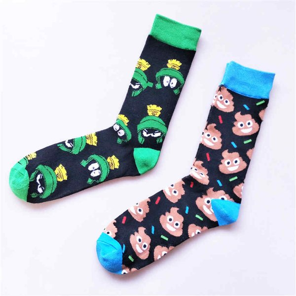 high fashion cartoon pattern men socks winter personality happy colorful funny sox comfort breathable knee-high sock calcetines
