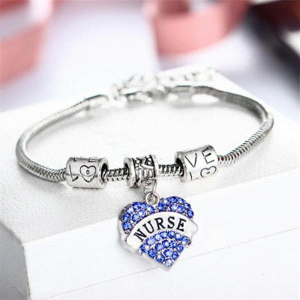 2018 Nouveau Charme Cristal Coeur Bracelet Infirmière Jour Cadeau Femmes Amour Infirmière Bracelet Bracelet Chaînes Femme Pulseras En Gros