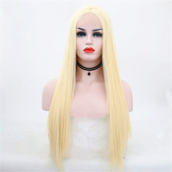 Hot selling fashion long hair wig 18 to 26 inch blonde straight lace front wigs with weaving cap free shipping