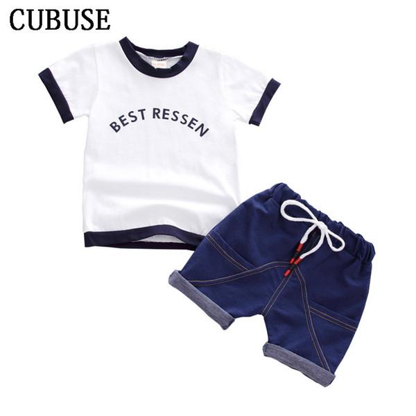 Kind 2018 Sommer Säuglingsbabykleidung Outfits Sportanzüge 2 Stücke Sets für Babykleidung Set 100% Baumwolle Design Trainingsanzug