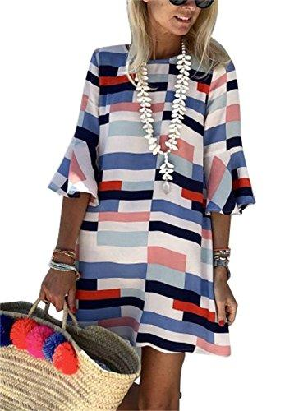 Nrthye Women's Casual Short Dress Half Flare Sleeve Color Block Print Swing Dress