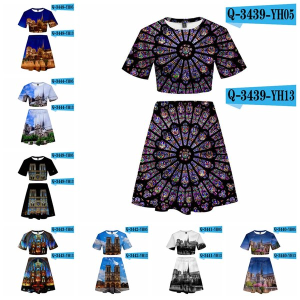 Notre Dame de Paris T-shirt skirt set unisex 3D Printed Women Hip Hop High Street Two Piece shirt tops Dress LJJA2100
