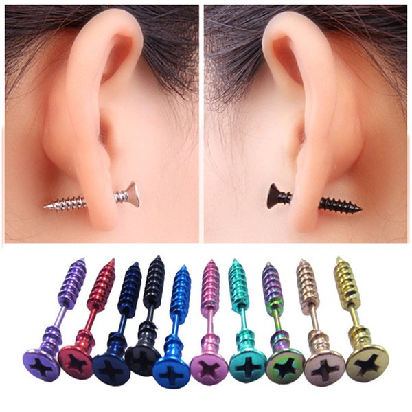 10 Double Titanium Steel Screw Earrings Fashion Men And Women Models Exquisite Stainless Steel Hypoallergenic Screw Earrings Wholesale