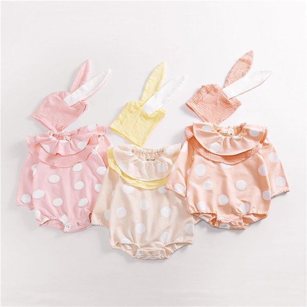 Hot Baby Girl Autumn Romper Dot Pom Pom Romper Child Cute Ruffles Outfits Matching Rabbit Ear Hat Baby Girl Long Sleeve Clothes