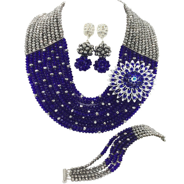 Fashion Silver and Royal Blue Nigerian Wedding African Beads Jewelry Set Crystal Necklace Bracelet Earrings Sets 10SZ21