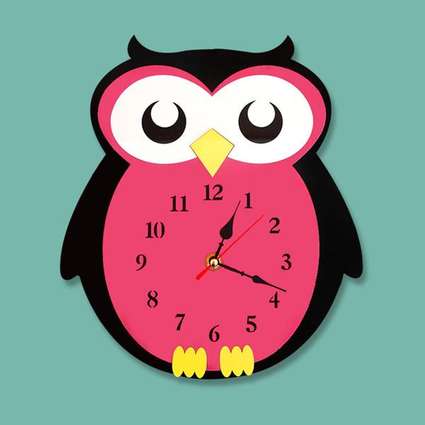 Cartoon Acrylic Owl Home Clock Horloge murale muette Creative Horloge Design moderne cuisine chambre horloge à quartz, sur le mur