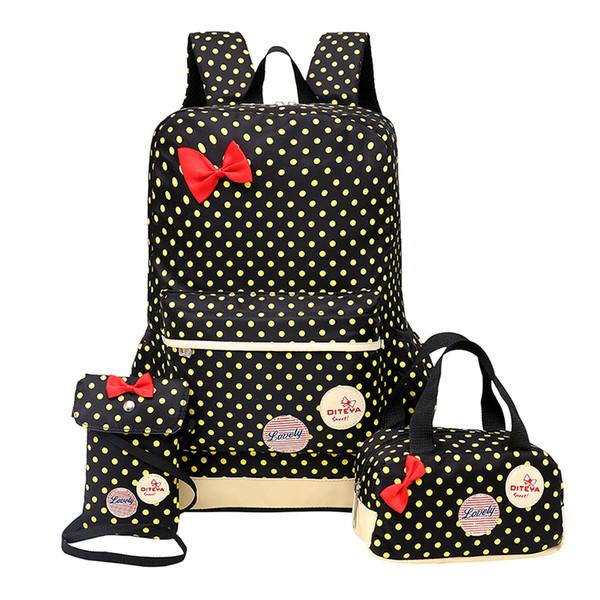 Школьная сумка подросток девушки желтые точки лук печати путешествия рюкзак дети ортопедические Backbag 3 шт./компл. Рюкзак школьный мешок infantil