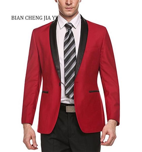 Acquista Giacca Da Uomo Con Risvolto Con Collo Sciallato Rosso Formale, Cappotto Formale Slim Fit, Cappotto Con Un Bottone, Abito Da Sposo, Blazer Da