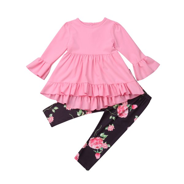 fe6cb93d98e326 Toddler Kid Baby Girl Ruffle Clothes Tops Flare Long Sleeve High Waist  Dress Floral Leggings Pants