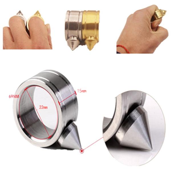 Broken window ring gold inner diameter 22mm stainless steel self-defense fist buckle portable lightweight free shipping