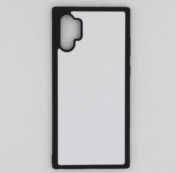 2D sublimazione TPU + PC di gomma della cassa della pelle della copertura per Samsung Note 10 Plus casi con piatti e colla 100pcs