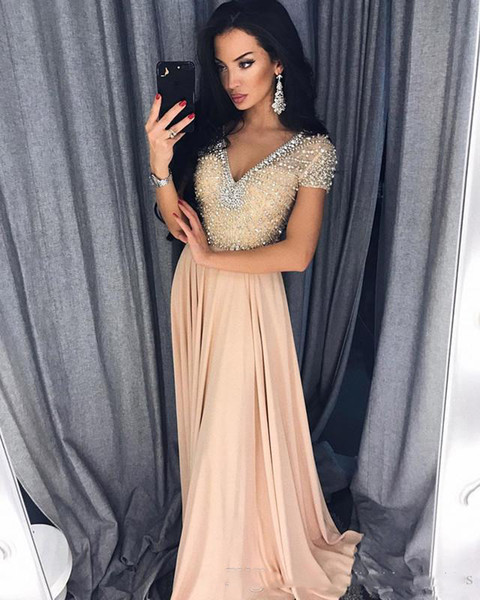 Sexy Beaded 2019 Evening Dresses V Neck A Line Short Sleeve Prom Dresses Chiffon Pageant Bridesmaid Formal Party Gowns