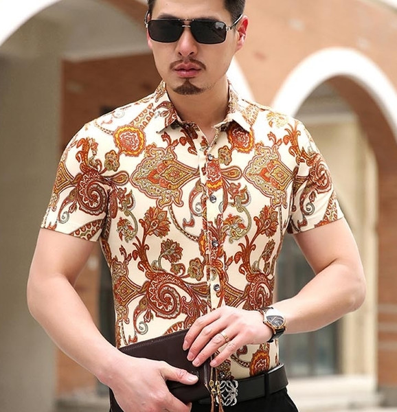 Printing New Summer Short Sleeve Mens Shirt Luxury Casual Dress Slim Fit Big Size m-6xl Brand Beach Comfortable Blouse Men S085