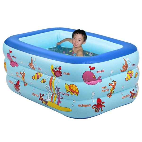 Inflatable Pool 3 layers Portable kids splashing ocean balls sand tub baby Inflatable swimming pool children bathtub 130x85x55cm