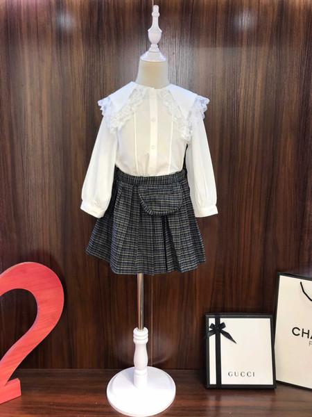 Девушки набор детской дизайнерской одежды 2019 новый кружева кукла воротник рубашки + кошка плиссированные юбки 2pcs хлопка ткань мешок пунктирная девушка костюм