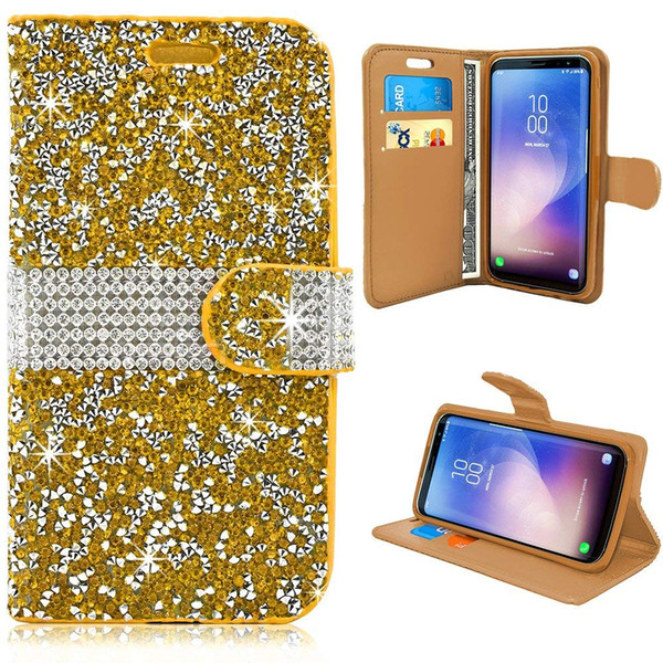 for iPhone 6 7 8 Plus XS MAX XR Leather Card Slot Handmade Diamond Rhinestone Crystal Bling Glitter Magnetic Closure Flip Folio Wallet Case