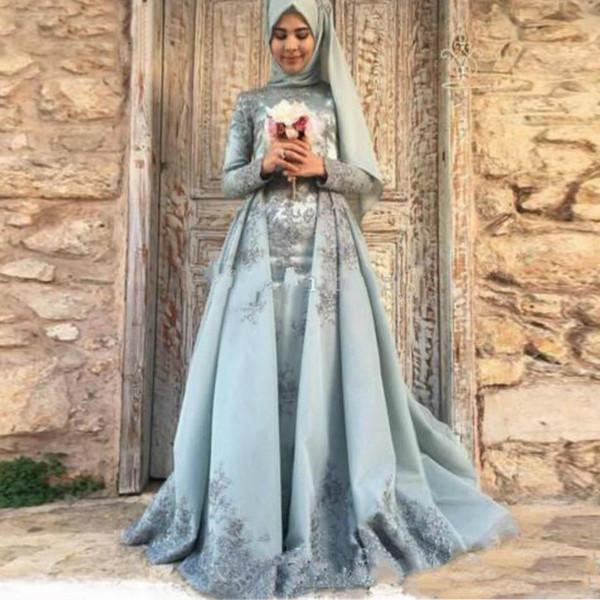 Robes De Soirée En Satin Musulman Avec Écharpe 2019 Une Ligne Dentelle Perlée Islamique Dubai Dubaï Saoudien Arabe Longue Robe De Soirée Formelle
