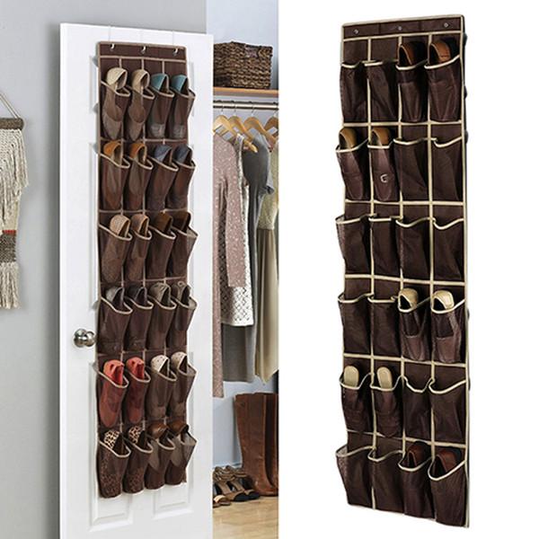 New 24 Grid Home Over Door Hanging Organizer Convenient Storage Holder Rack Closet Shoes hanger