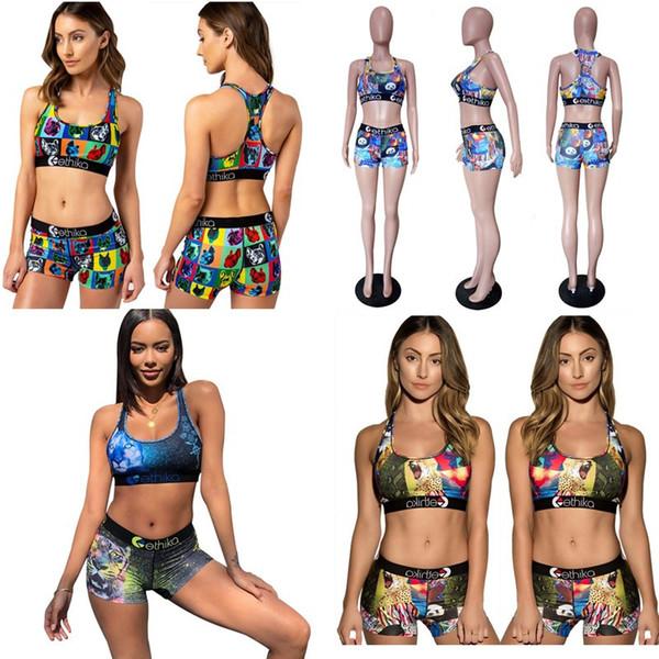 Donne Ethika Costumi da bagno Cartoon Beach Designer Tankinis Animal Color Block Costume da bagno Sexy Push Up Bra Vest Pantaloncini 2 Piecs Bikini Set C6304