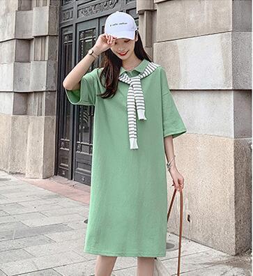 Mid-sleeve Dresses Summer 2019 New Casual Harajuku Macaron element Light Green Loose Medium-length Shawl T-shirt Skirt