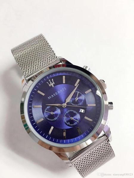 Cinturino in acciaio Maserati all'ingrosso orologio 44mm Orologi di design da uomo Orologi sportivi di lusso auto sportive di marca Orologio blu quadrante al quarzo montre ho