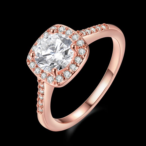 Gold Rings Mosaic Zircon Platinum Rose Gold Silver Plated Ring Classic Romantic Women Propose Wedding Ring Marriage Surprise Gift POTALA002