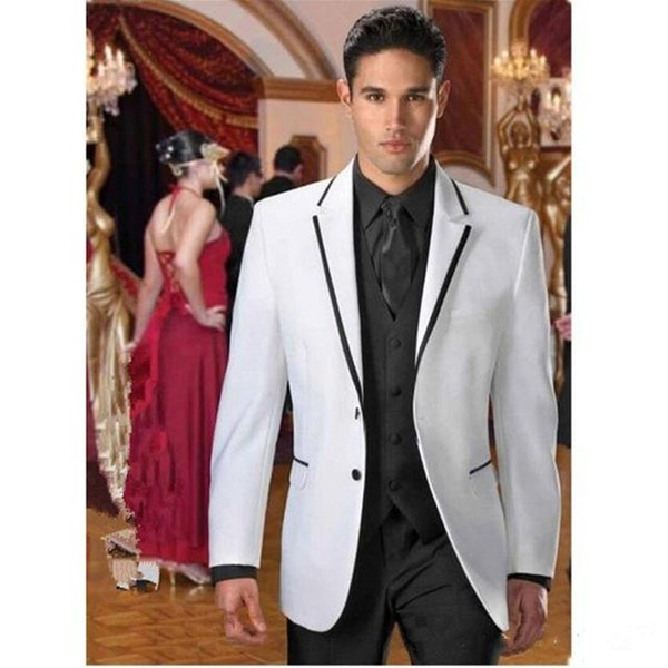 New Stylish Design Two Buttons White Groom Tuxedos Notch Lapel Groomsmen Best Man Suits Mens Wedding Suits (Jacket+Pants+Vest+Tie) 907