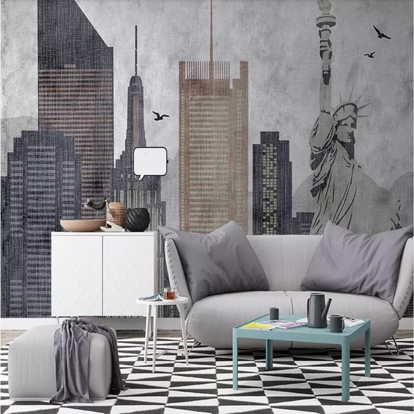 3d Retro Hand Drawn City Building Oil Painting Office Wallpaper Personality  Abstract Living Room Sofa TV Background Wall Paper Arkadi Widescreen ...