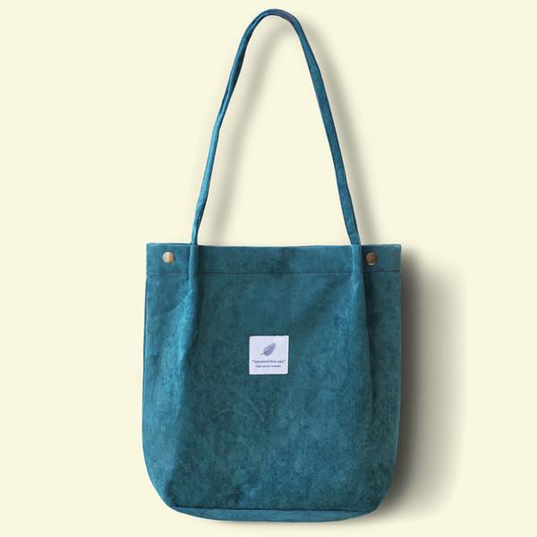 Femmes en velours côtelé sac à bandoulière dames Casual Eco Tote sac à main pliant réutilisable sacs à provisions bourse femme coton toile tissu pochette C19030201