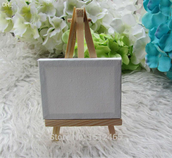 Wholesale-24 sets Mini Display Easel WIth Canvas 7*9cm Wedding Table Numbers Painting Hobby