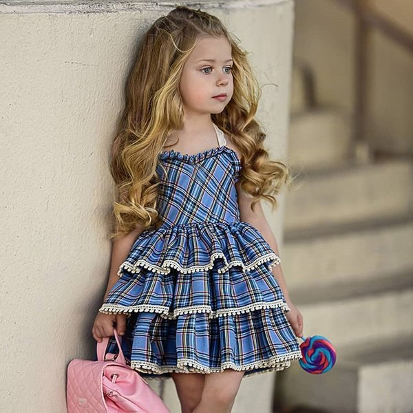 2019 European and American girls lace suspender cake skirt dress baby red plaid sweet cute fluffy cake dress