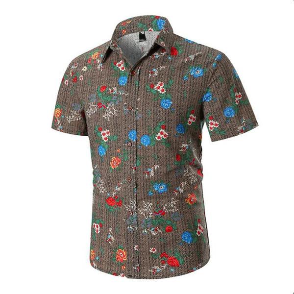 High Quality 2019 New Fashion Mens Short Sleeve Hawaiian Shirt Summer Casual Floral Shirts For Men Asian Size M-3XL
