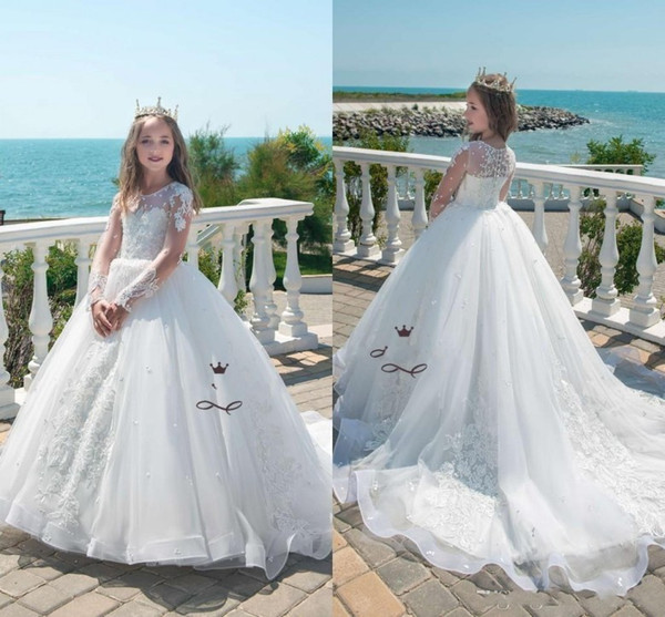 Beautiful Kids White Princess Wedding Dresses 2019 Lace Appliques Pearl Long Sleeves Girls Pageant Gown Tulle Flower Girl Dress