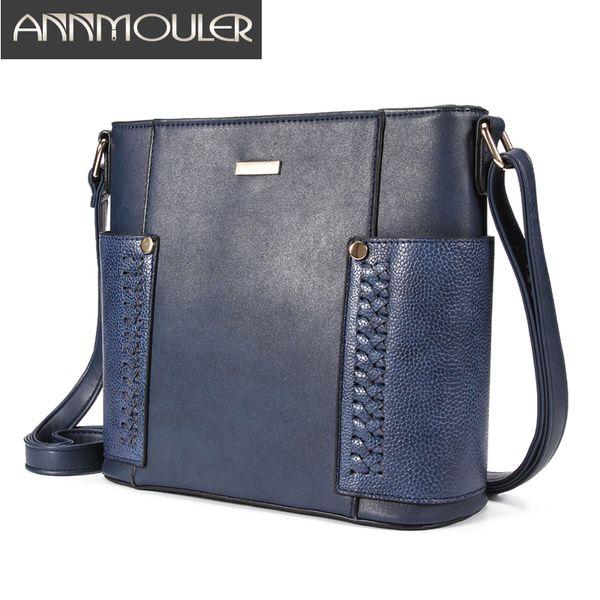 Annmouler Mode Femmes Sacs Pu Sac bandoulière en cuir patchwork Sac Messenger épaule Qualité Mesdames Purse Bucket
