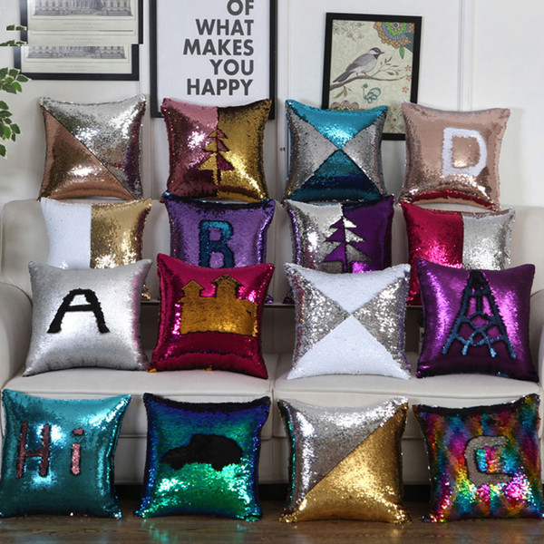 top popular DHL Bling Mermaid Sequins Pillow Case Two Tone Home Sofa Car Pillow Covers Decor Cushion Christmas decoration 31 Style Free Shipping 40*40cm 2021